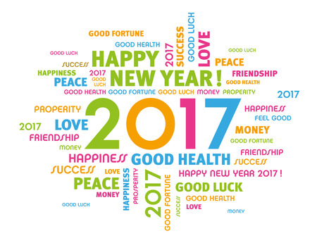 congratulations: palabras de felicitación de colores alrededor de 2.017 al año Tipo de aislados en blanco