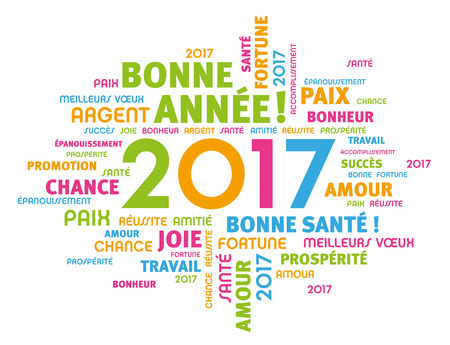 french: Colorful greeting French words around 2017 year type isolated on white