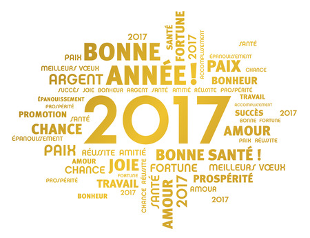 word cloud: Gold greeting French words around 2017 year type isolated on white Illustration