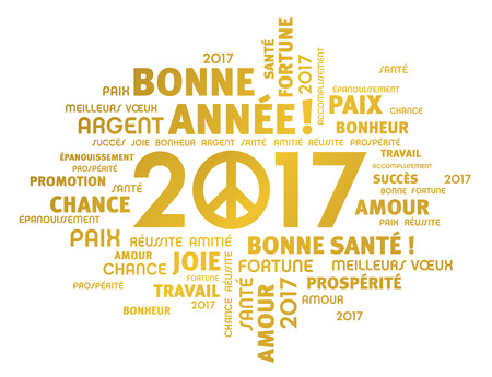 french: Gold greeting French words around 2017 year type with peace symbol isolated on white