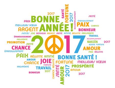 simbolo della pace: Colorful saluto parole francesi intorno tipo 2017 anni con il simbolo della pace isolato su bianco