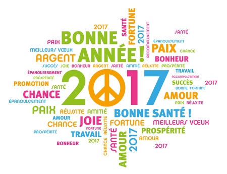 simbolo paz: Saludo colorido alrededor de palabras en francés Tipo de 2.017 años con el símbolo de la paz aislados en blanco