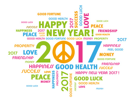 Colorful Greeting Words Around 2017 Year Type With Peace Symbol