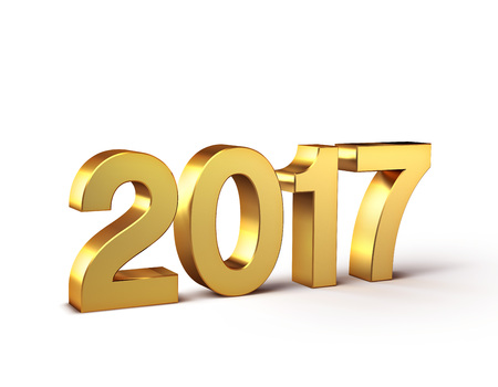 New Year 2017 type, colored in gold and isolated on white - 3D illustration Imagens - 63886278