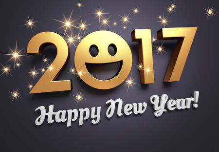 happy smile: Gold 2017 year type with a smiley symbol on a festive black background - 3D illustration Stock Photo