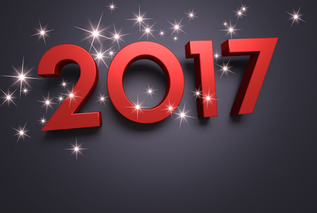 three wishes: Red 2017 year type on a black background - 3D illustration Stock Photo