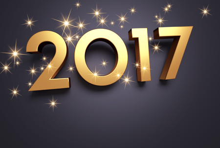 three wishes: Gold 2017 year type on a black background - 3D illustration Stock Photo