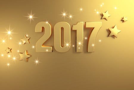 three wishes: Gold 2017 year type on a bright golden background - 3D illustration
