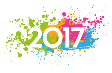 greetings card: New Year 2017 date on colorful paint stains isolated on white Stock Photo