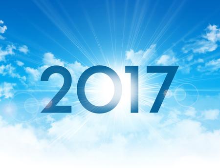 cielo azul: El nuevo tipo 2017 de alta en el cielo azul con el sol saliendo por detrás Foto de archivo