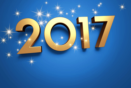three wishes: Gold 2017 year type on a blue background - 3D illustration