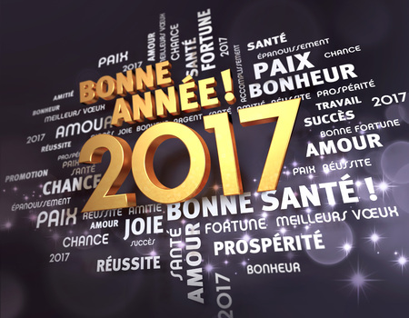 word cloud: Greeting words in french language around gold 2017 year type, on a festive black background - 3d illustration