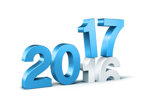 New Year blue 2017 type over 2016, isolated on white - 3D illustration