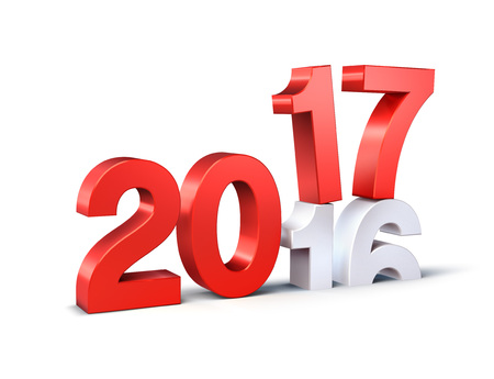 New Year red 2017 type over 2016, isolated on white - 3D illustration