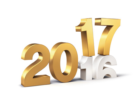 New Year gold 2017 type over 2016, isolated on white - 3D illustration