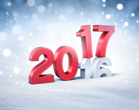 postcard design: New Year red 2017 type over 2016 on a winter snow background - 3D illustration