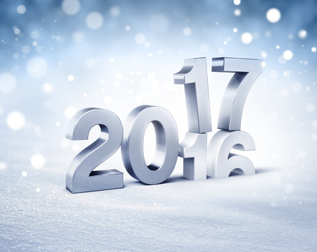 3d icon: New Year silver 2017 type over 2016 on a winter snow background - 3D illustration