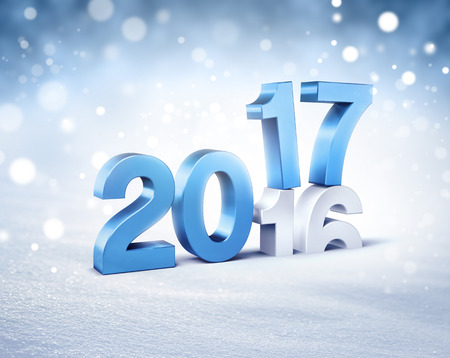 3d icon: New Year blue 2017 type over 2016 on a winter snow background - 3D illustration Stock Photo