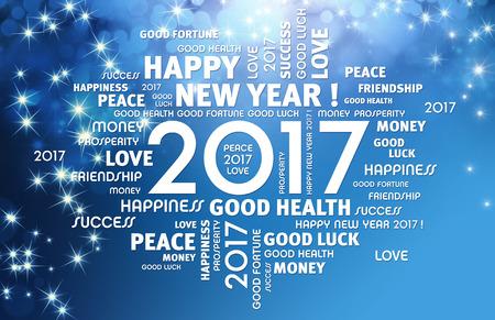 축제 파란색 배경에 2017 년 유형 인사말 단어 주위