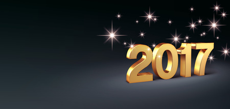 New Year gold 2017 type, on a festive black background - 3D illustration 스톡 콘텐츠