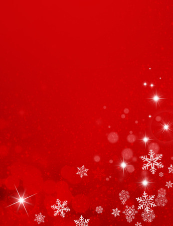 Ornamental red background with snowflakes, stars and soft lights Stock Photo