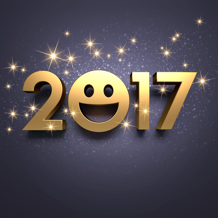 best: Gold 2017 year type with a smiley symbol on a festive black background - 3D illustration Stock Photo