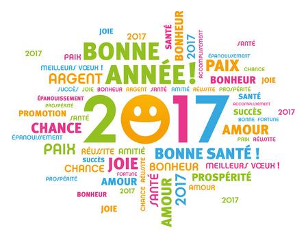 Kolorowe powitanie słów francuskich około 2017 roku typu z uśmiechem na twarzy, na białym tle