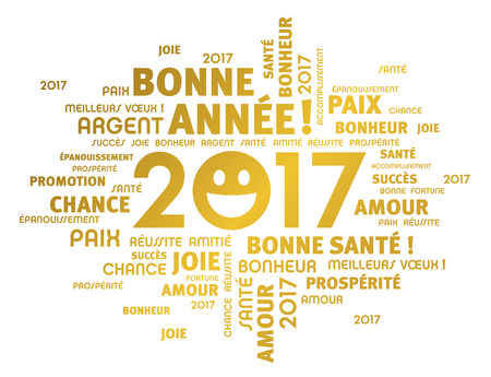 congratulations word: Gold greeting french words around 2017 year type with a smiling face, isolated on white Illustration