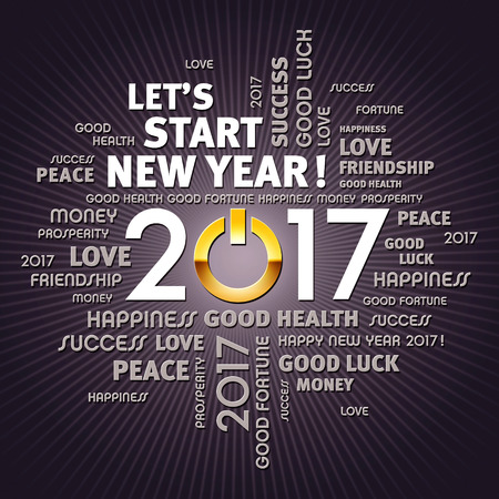 text year: Greeting words around 2017 year type with a gold power button