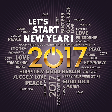 Greeting words around 2017 year type in gold with a power button Stock Photo - 63886363