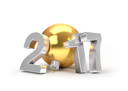 date night: New Year 2017 type with a gold christmas ball - 3D illustration