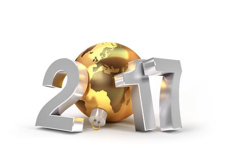 planeta tierra feliz: El nuevo tipo 2017 con el planeta tierra en una bola de Navidad de oro - ilustración 3D