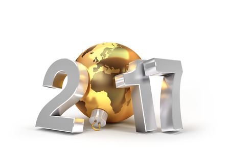3d icon: New Year 2017 type with planet earth in a gold christmas ball - 3D illustration Stock Photo