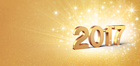end of year: New Year gold 2017 type on a bright golden background - 3D illustration
