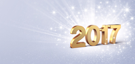 the end of the year: New Year gold 2017 type on a bright silver background - 3D illustration