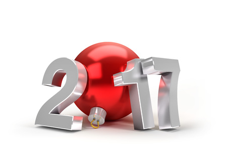 evening ball: New Year 2017 type with a red christmas ball - 3D illustration