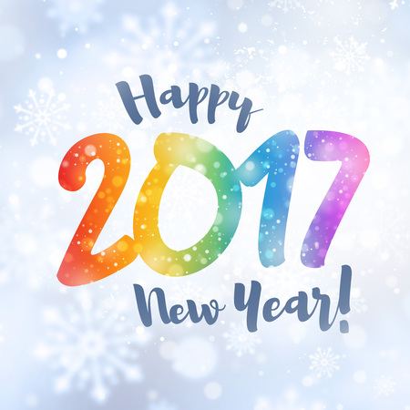 fonts year: New year 2017 colorful date and greetings in snowfall