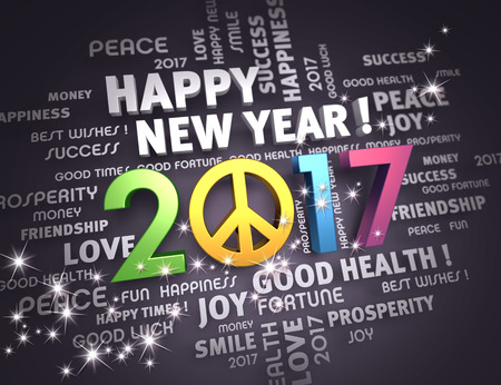 word cloud: Greeting words around a colorful and positive 2017 year type, on a festive black background - 3D illustration Stock Photo