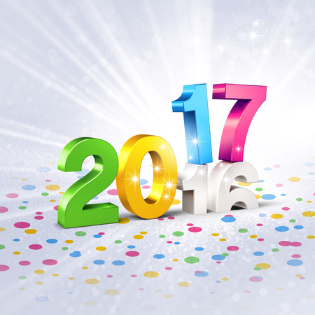 Colorful 2017 New Year type over 2016, on a festive silver background full of confetti - 3D illustration