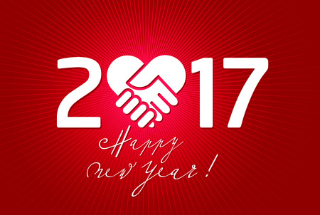 new love: 2017 New Year type on a red shiny background, with handshake shapes in a heart