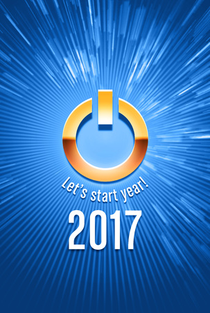 text year: 2017 new year starting in light with a power button Stock Photo