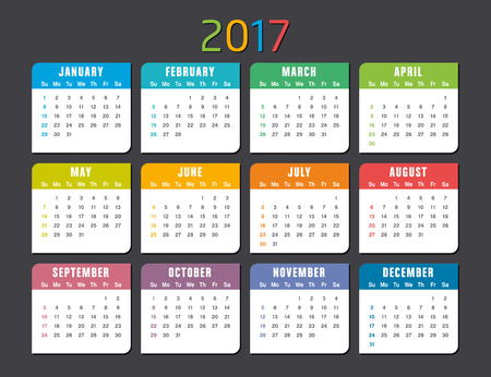 calender: Colorful 2017 calendar isolated on a dark background