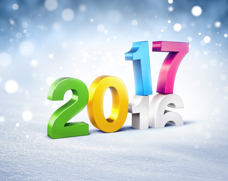 New Year colorful 2017 type over 2016 on a winter snow background - 3D illustration Stock Photo