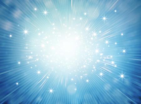 Feestelijk helder licht dat in een blauwe glinsterende achtergrond ontploft Stockfoto