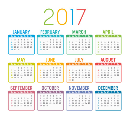 calender: Colorful 2017 calendar isolated on a white background