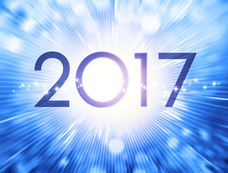 New Year date 2017 on a festive blue background