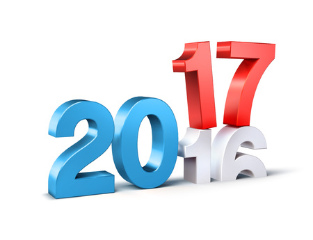Blue and red 2017 New Year type over 2016, isolated on white - 3D illustration