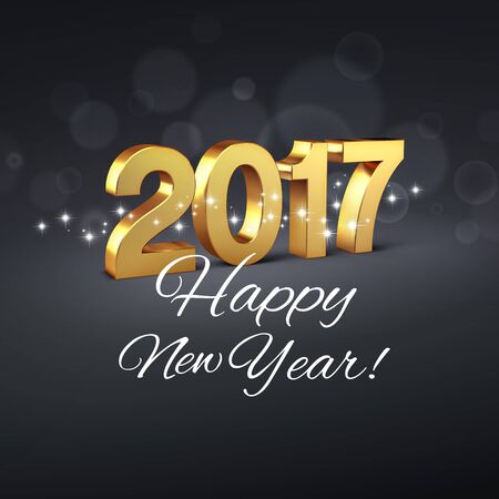 date night: Gold and glittering 2017 New Year type on a black background - 3D illustration