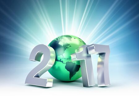 2017 New Year kind Composed with a green planet earth was shining blue background - 3D illustration