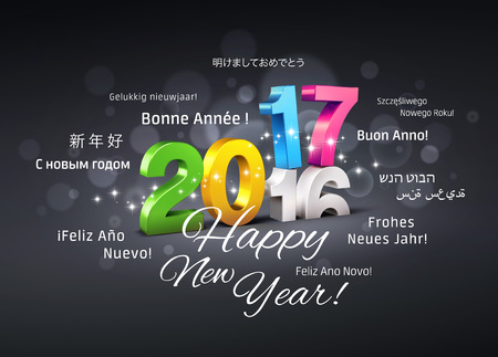 worldwide wish: Colorful 2017 New Year type over 2016 and greetings in multiple languages - 3D illustration